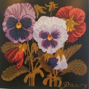 画像1: イギリス製 Elizabeth  Bradley ニードルポイントキット Pansy (1)